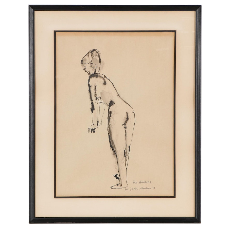 Ink and Watercolor Drawing of Nude, Circa 1960