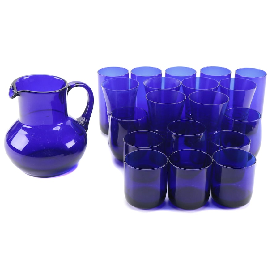 """Libby """"Premier Cobalt"""" Tumblers and Old Fashioned Glasses with Other Drinkware"""