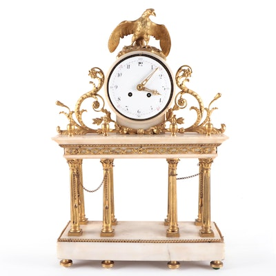 French White Marble and Brass Mantel Clock, Late 19th Century