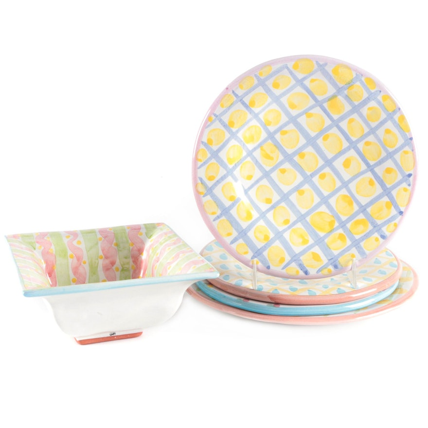 "Mackenzie-Childs ""Wallcourt"" Terracotta Plates and Square Rimmed Bowl"