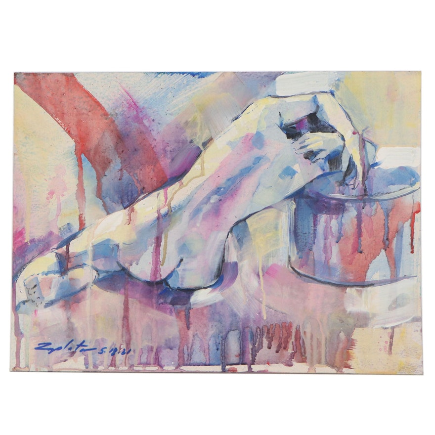 "Raymond Zaplatar Figurative Acrylic Painting ""Taryn,"" 2021"