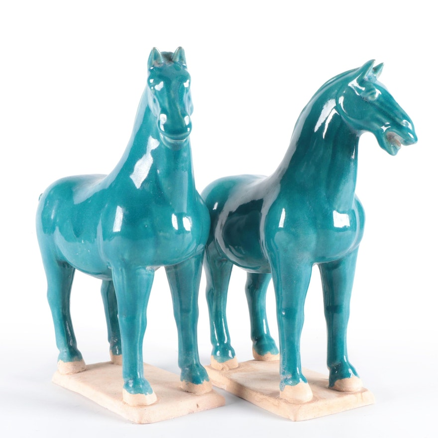 Pair of Chinese Tang Style Glazed Earthenware Horses