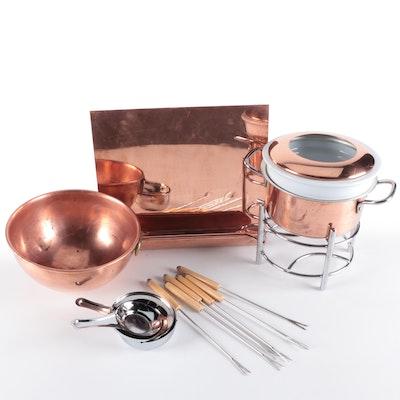 Ballard Designs Copper Book Stands, Copper Bowl and Williams-Sonoma Fondue Set