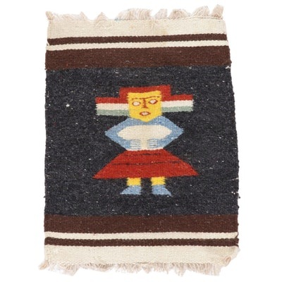 1'5 x 1'10 Handwoven Pictorial Kilim Rugs, 2000s