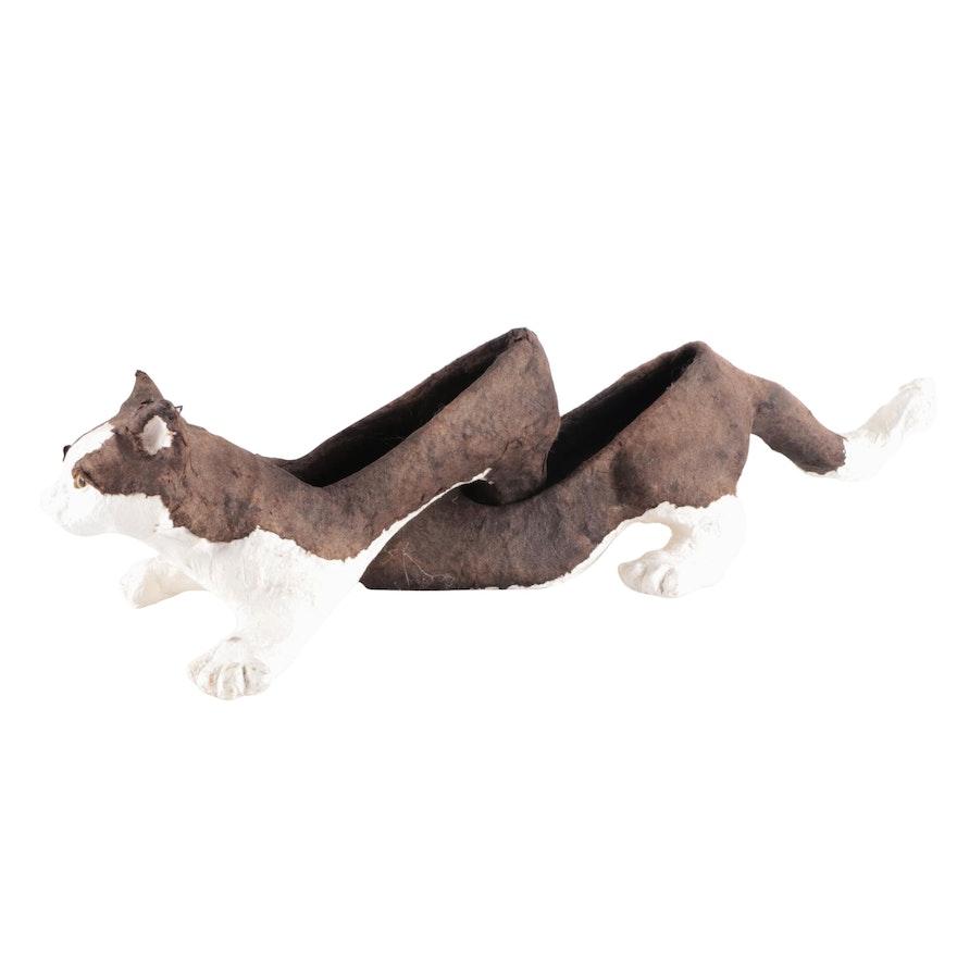 Handcrafted Papier-Mâché Cat Heel Figurines