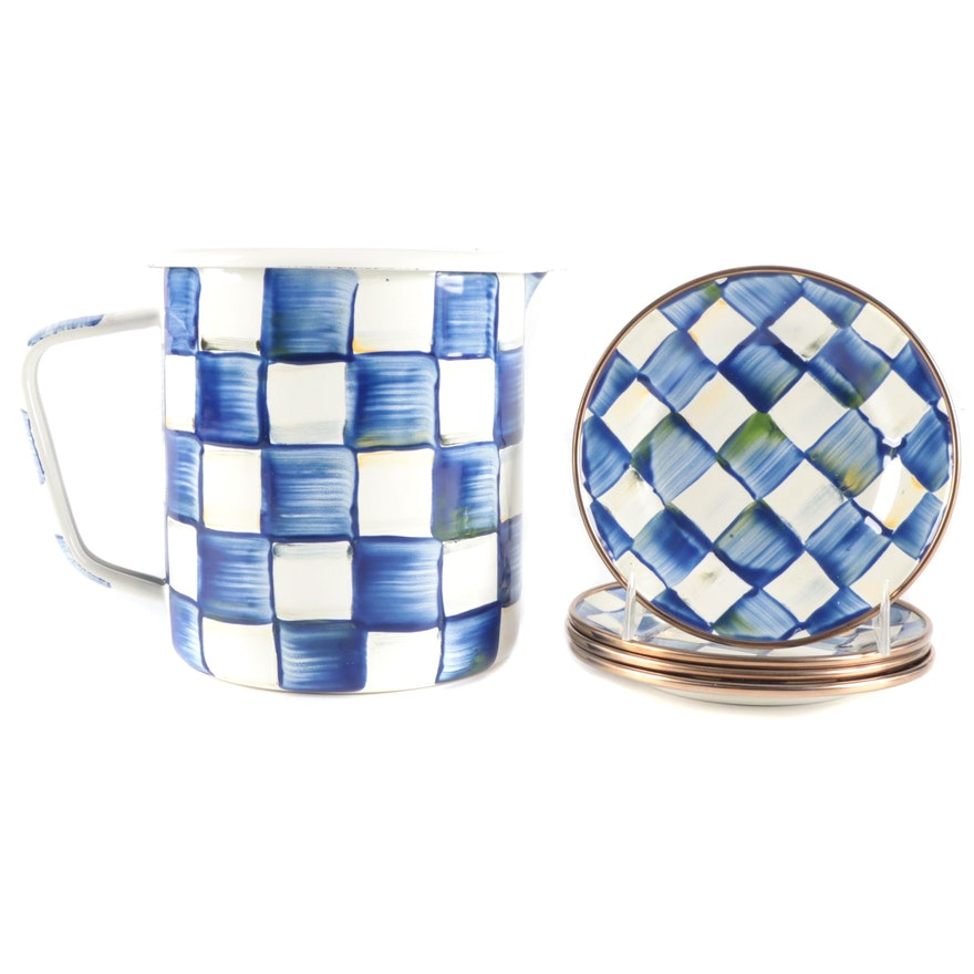 """Mackenzie-Childs """"Royal Check"""" Enamelware Measuring Cup and Canapé Plates"""