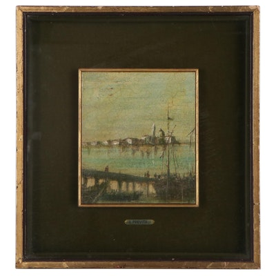 Harbor Scene Oil Painting of Venice, Late 19th Century