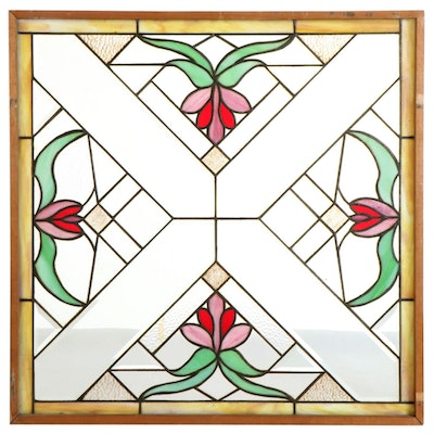 Art Nouveau Style Stained Glass Window Panel