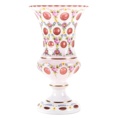 Bohemian Style White Cased Glass Cut to Cranberry Hand-Painted Footed Vase