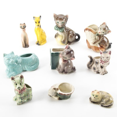 Cat-Shaped Ceramic and Chalkware Planters and Figurines, Mid-20th Century