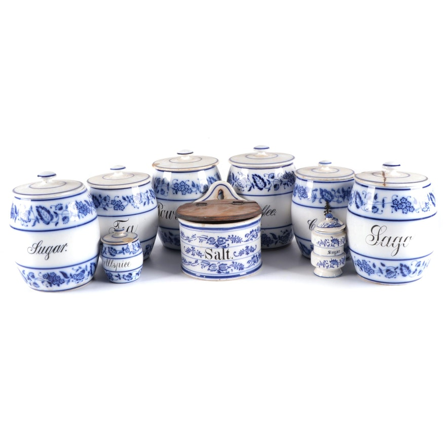 Lewis Straus & Sons and Other German Blue Onion Style Ceramic Containers