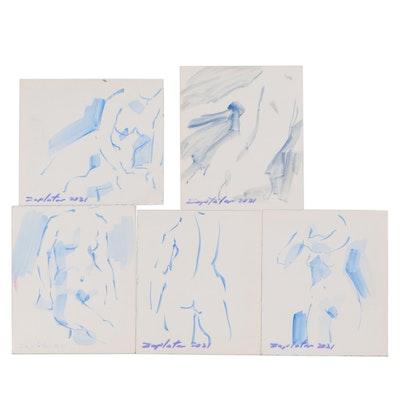 Raymond Zaplatar Figurative Acrylic Gesture Paintings, 2021
