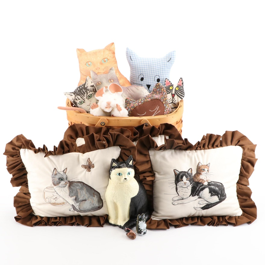 Berrini and Other Cat Form Pillow with Basket, Puppet and Door Stops