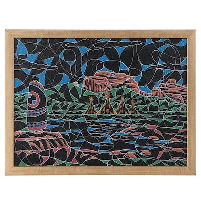 Ricardo Maya Southwestern Acrylic Painting, 21st Century