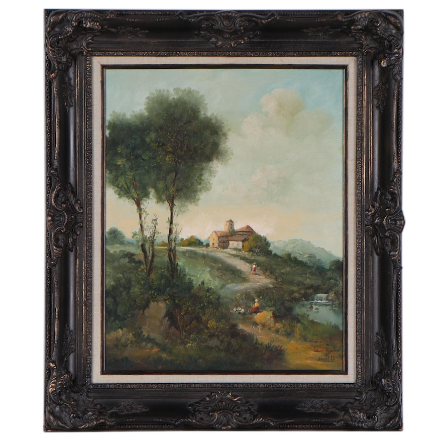 Continental School Style Oil Painting, Late 20th Century