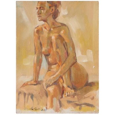 Raymond Zaplatar Figurative Oil Painting of Seated Female Nude, 2021