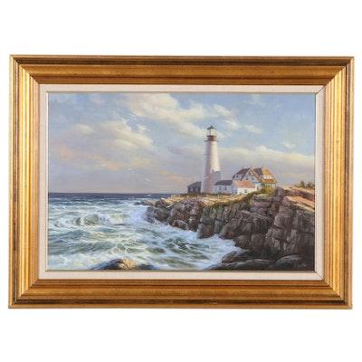 Ron Goyette Coastal Landscape Oil Painting, Circa 2000