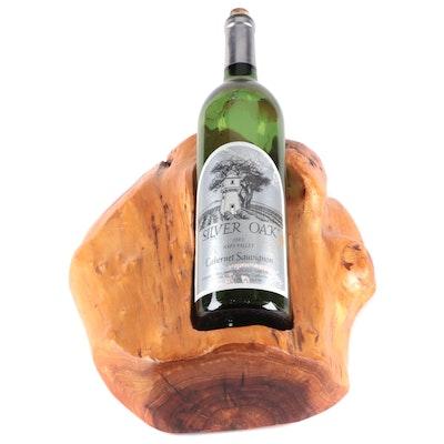 Carved Fir Burl Wood Wine Bottle Holder