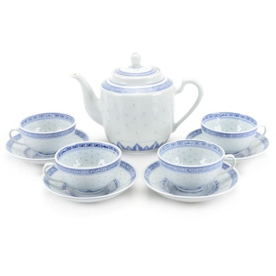 Chinese Blue and White Porcelain Rice Grain Tea Set