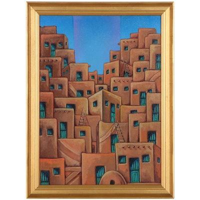 Ricardo Maya Acrylic Painting of Adobe Houses, 21st Century