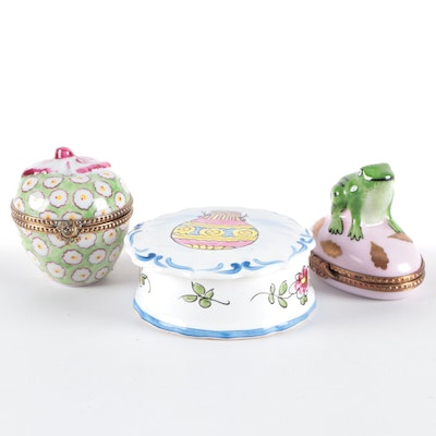 Hand-Painted Frog Form and Apple Form Limoges Boxes with Other Ceramic Box