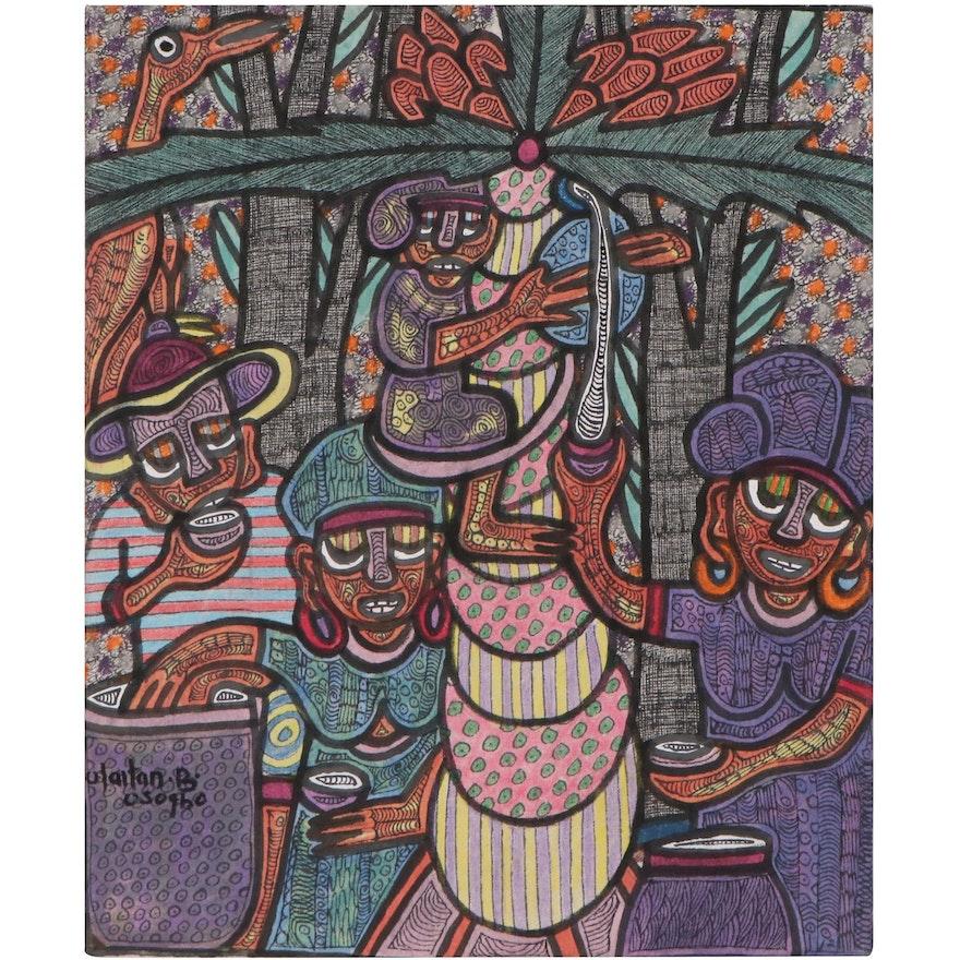 """Olaitan Bolarinwa Mixed Media Painting """"Farming,"""" 2021"""
