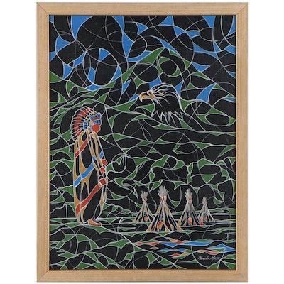 Ricardo Maya Native American Acrylic Painting, 21st Century