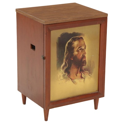Record Player Cabinet with Portrait of Jesus Christ, Mid-20th Century