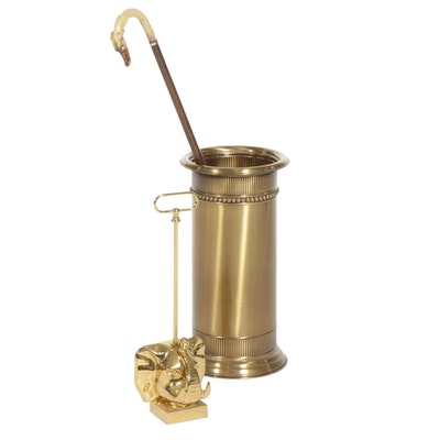 Brass Umbrella Stand, Elephant Stand and Wood Walking Cane