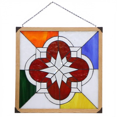 Contemporary Quatrefoil Medallion Stained Glass Hanging Window Panel