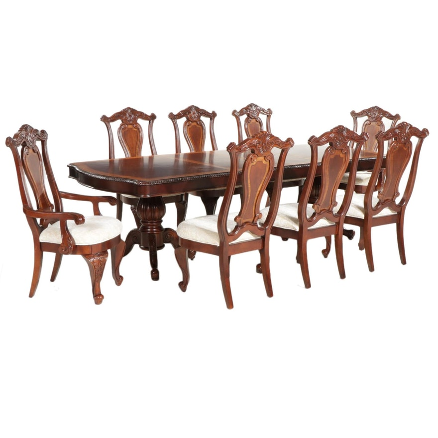 Contemporary Rococo Style Mahogany Dining Table with Eight Chairs