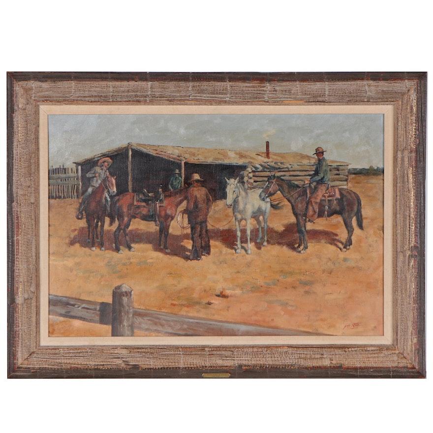 "John Stone Jr. Oil Painting ""Borrowing a Stud,"" Late 20th Century"
