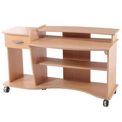 Grained Laminate Computer Desk on Casters