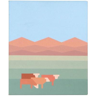 "Walter Cooper Acrylic Painting ""Santa Fe, N.M.,"" 21st Century"