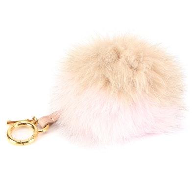 Fendi Pom-Pom Key Ring Bag Charm in Powder Pink and Camel Fox Fur