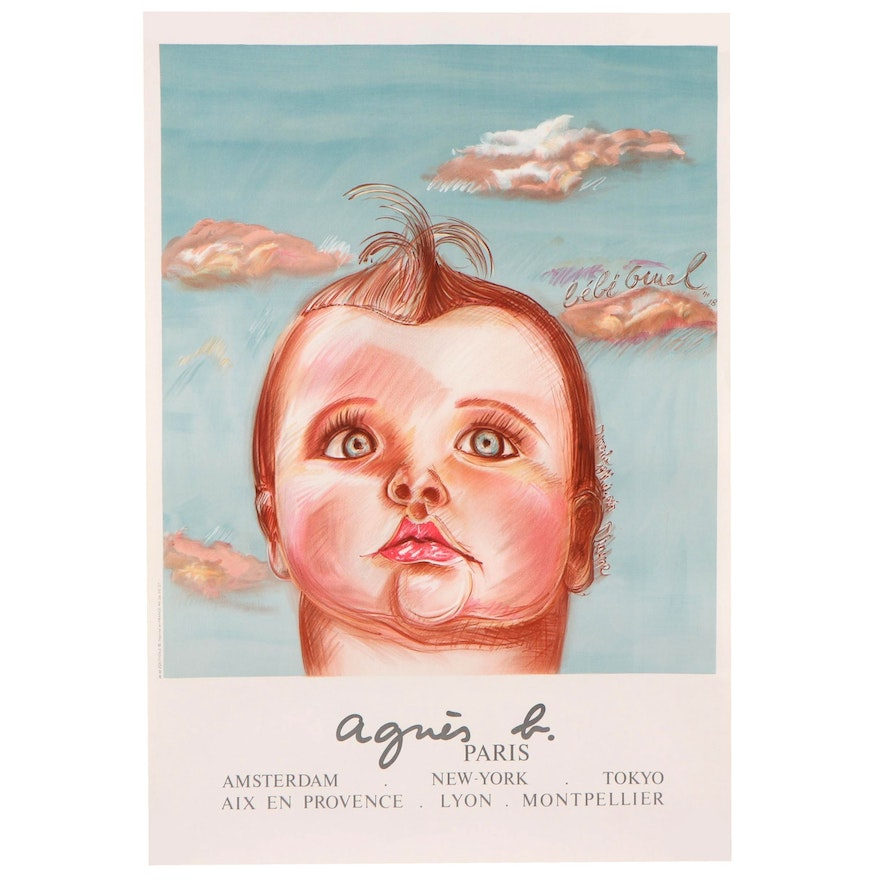 """Lithograph After Diagne Chanel """"Anges B, le Bebe Geuel,"""" Late 20th Century"""