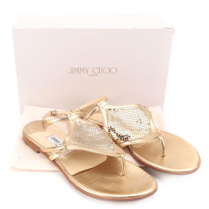Jimmy Choo Sandals in Metallic Gold Napa Leather with Mesh Detail and Box