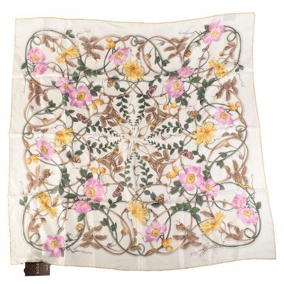 Gucci Flowerberry Print Silk Twill Scarf