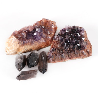 Raw Amethyst Geode Clusters and Smoky Quartz Fragments