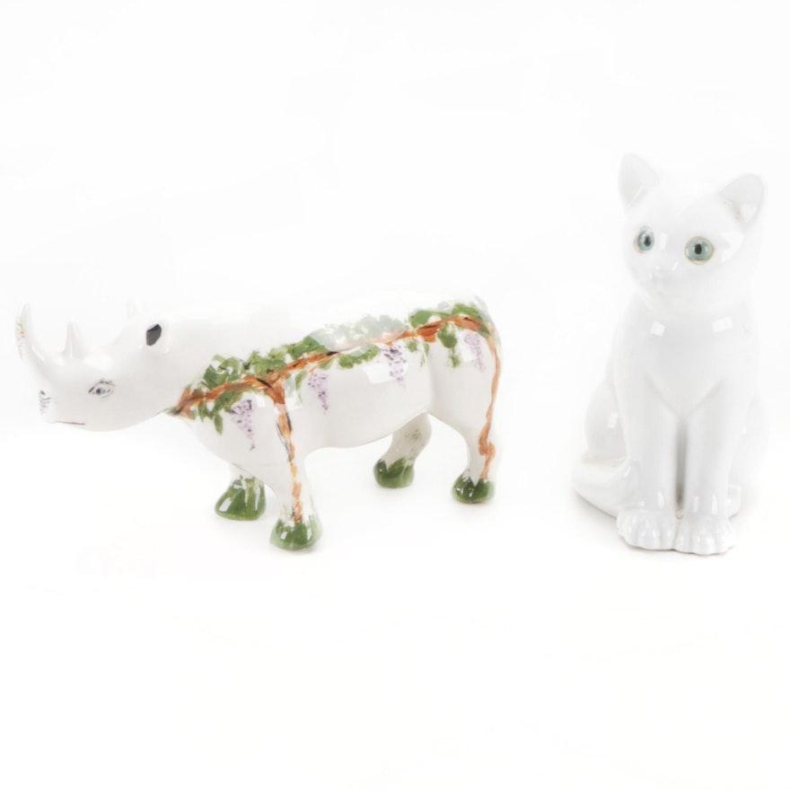 ELPA Alcobaça Pottery Cat with Orgari by Heidi Steck Ceramic Rhino Figurine