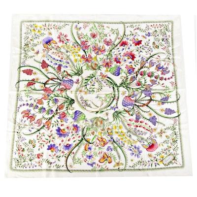Gucci Botanical Floral Print Silk Twill Scarf