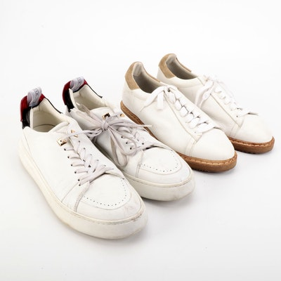 Men's Buscemi Uno Sport Low and Brunello Cucinelli Sneakers in White Leather