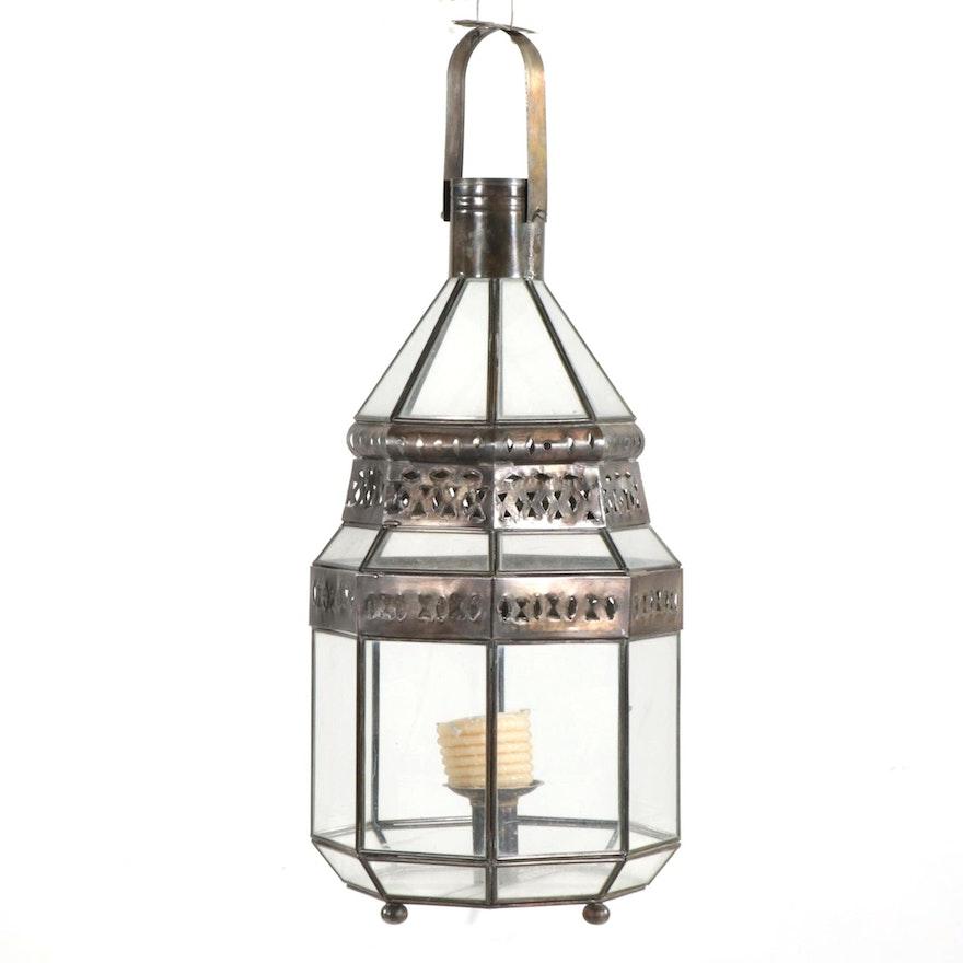 Metal and Glass Candelstick Lantern Pendant