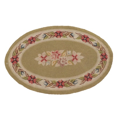 1'10 x 2'10 Oval Hand-Hooked Floral Rug, 1970s