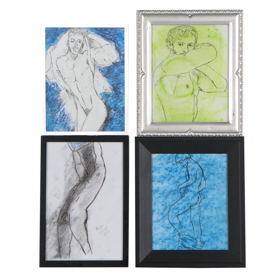 Michael Howell Mixed Media Paintings of Nudes, 2021