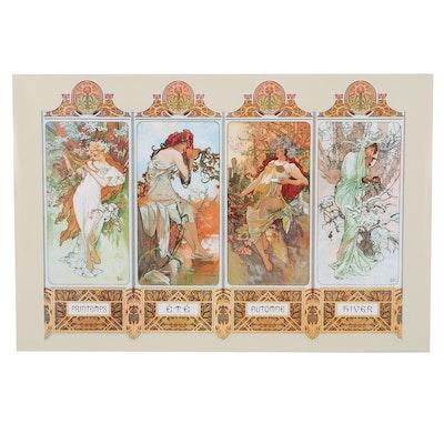 "Offset Lithograph After Alphonse Mucha ""Four Seasons,"" 21st Century"