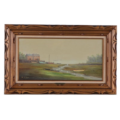"""Val McGann Oil Painting """"A Quiet Cove, Maine,"""" Late 20th Century"""