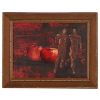 Henri Muth Oil Painting of Adam and Eve, 1961