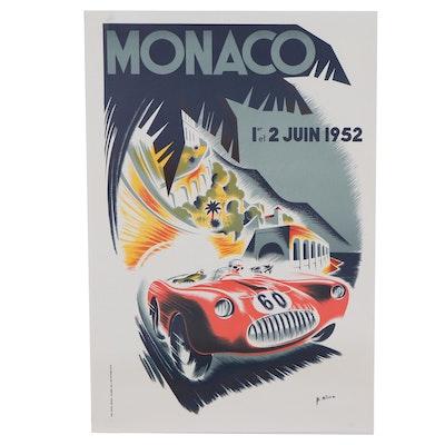 "Lithograph After Bernard Minne ""Monaco Grand Prix 1952, "" Late 20th Century"