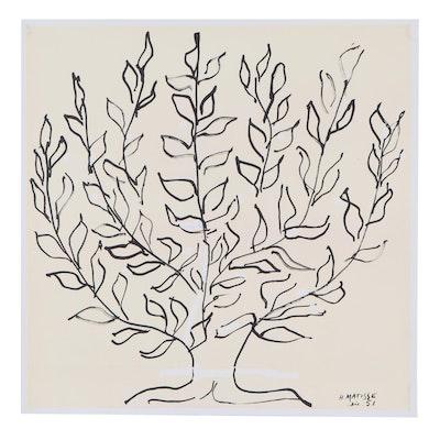 "Giclée After Henri Matisse ""Le Platane - Le Buisson,"" Late 20th Century"